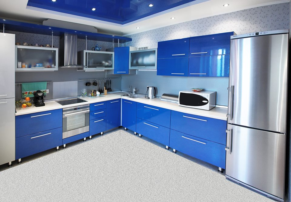 Gorgeous Awesome Blue Themed Kitchen Design Ideas 2016