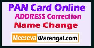 PAN CARD ADDRESS Correction - Name Change on PAN CARD Online