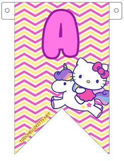 Banderines con Letras para Cumpleaños de Hello Kitty. Hello Kitty Party Free Printable Banners with the Alphabet.