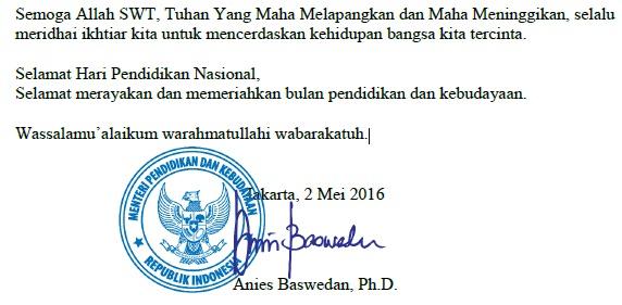 Naskah Pidato Sambutan Menteri Pendidikan (Bapak Anies Baswedan, Ph. D ) pada Upacara Peringatan Hari Pendidikan Nasional Tahun 2016