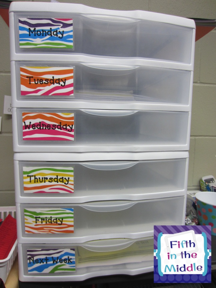 Sterlite scrapbooking drawers organize papers and materials for the week.