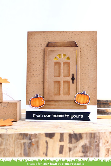 Elena\u0027s Shut the Front Door design is absolutely charming! I love the cute Forest Feast raccoon inside holding the pie (from Holiday Party Animal)! He\u0027s ...