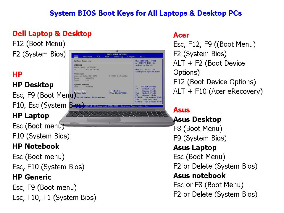 Dell laptop bios settings | BIOS Access on a Dell Inspiron Laptop