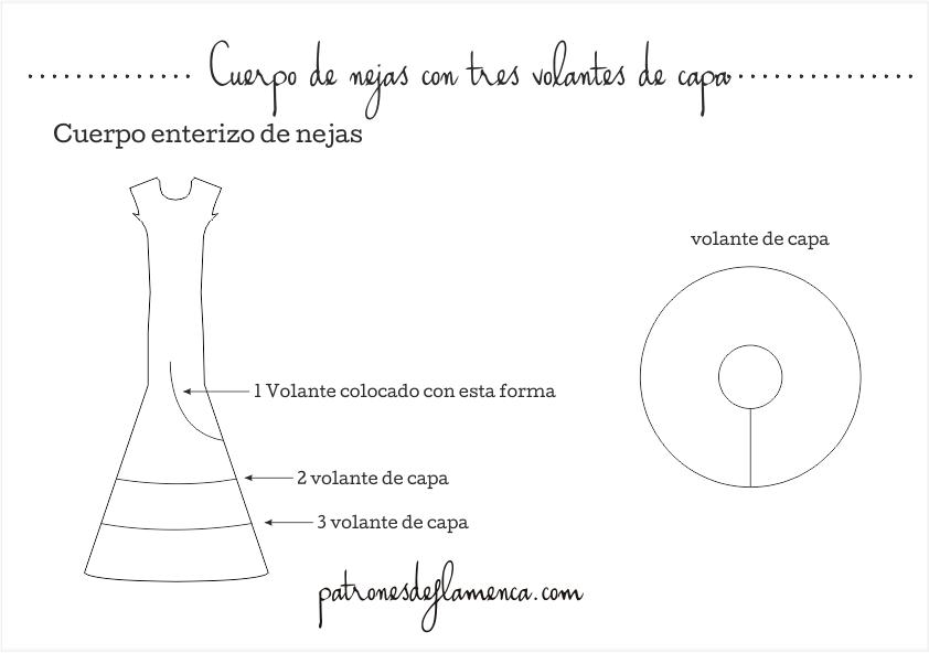 Dibujo técnico cuerpo de nejas con tres volantes de capa