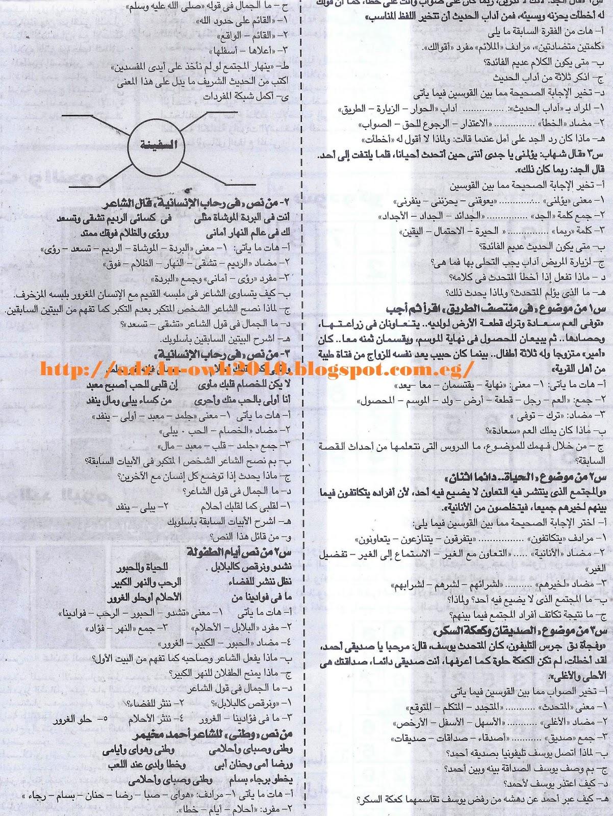 مراجعة لغة عربية مهمة للصف السادس الابتدائي ترم ثاني.. ملحق الجمهورية 2017 Scan0001