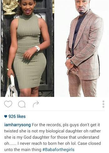 She's Not My Biological Daughter Rather She's My God-Daughter – Harrysongz Clarifies
