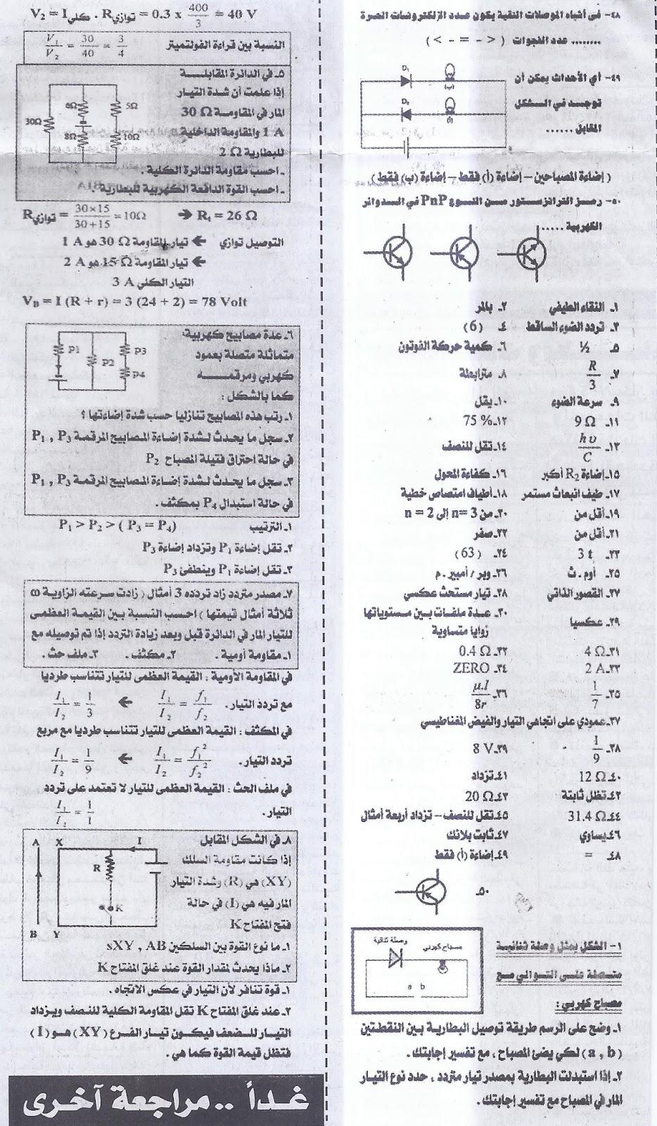 بنك توقعات الفيزياء.. لثالثة ثانوي - ملحق الجمهورية الجزء الاول 11