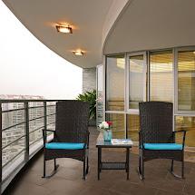 Luxury Furniture Kinbor 3pcs Outdoor Rattan Rocker