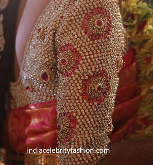 Latest Kundan Work Blouse for Wedding Saree
