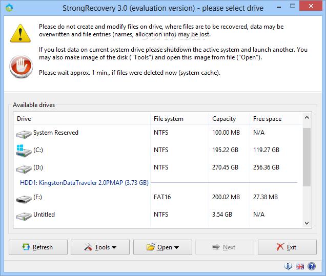 تحميل برنامج استعادة الملفات المحذوفة من الكمبيوتر والفلاش StrongRecovery 3.7.9.4