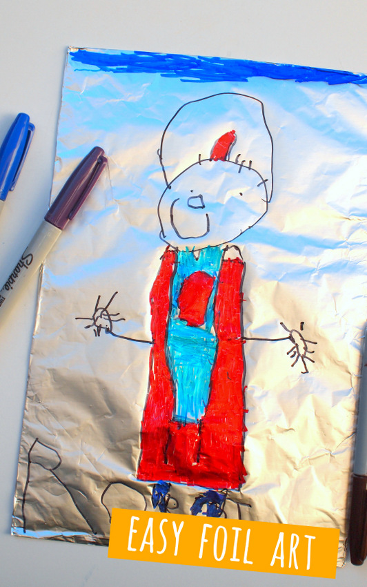 Easy Preschool Robot Art- Use Sharpie and Foil