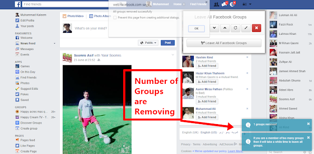 Leave all Facebook Groups processing