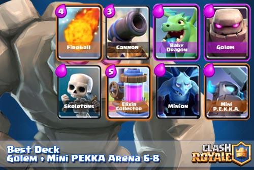 Deck Terbaik Golem Mini PEKKA Arena 6 7 8 Clash Royale