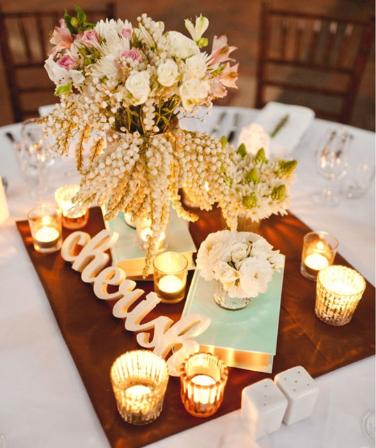 Vintage fall wedding table centerpieces candle