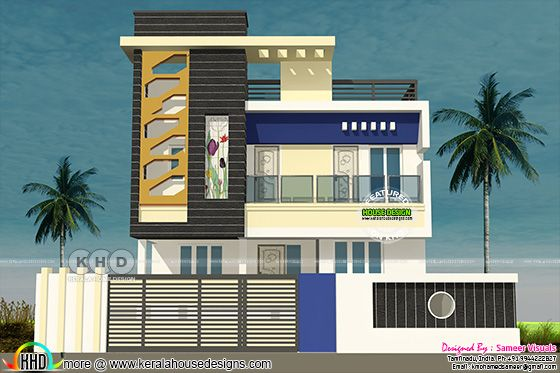 Tamilnadu style 3 bedroom modern home plan