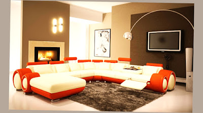 Affordable Modern Furniture Dallas White and Orange Color With Big LED TV on The Wall Pic Best