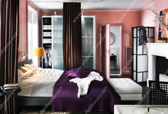 Amazing bedroom design  for your stylish house with beauty wardrobe with glassy doors