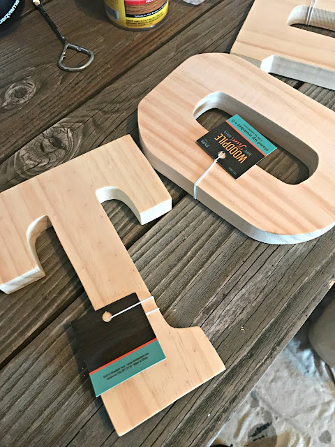 Wood letters for chalkboard