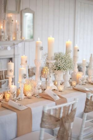 decoration mariage vintage table toile de jute cristal