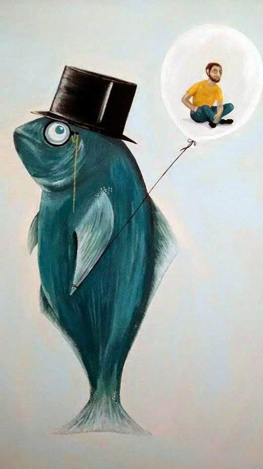 """Inspector Fish"". Children's surrealism. Acrylic on Canvas."