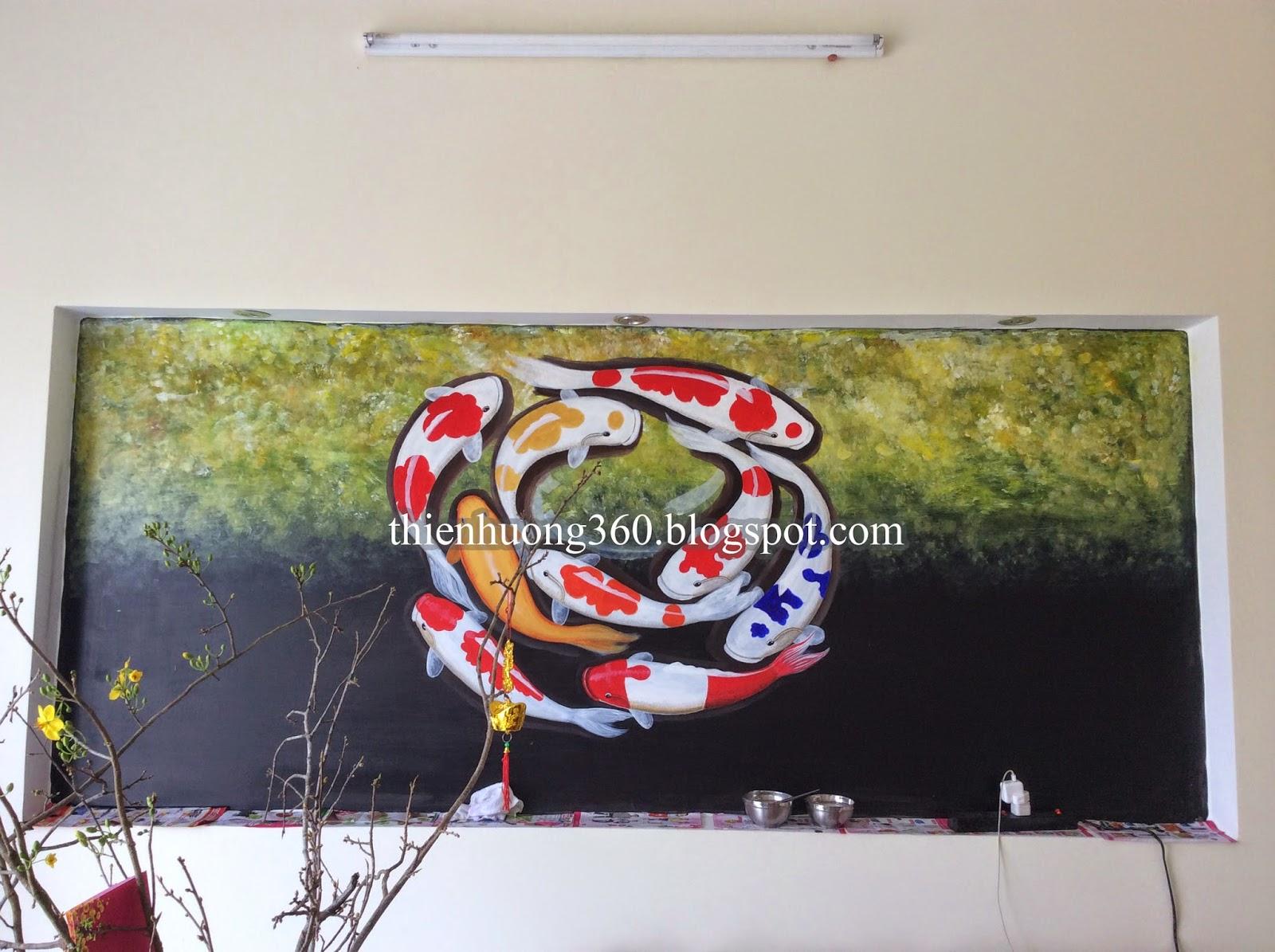 Tranh tường Cá chép và hoa sen