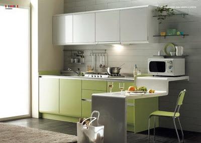 Disain Dapur Minimalis Dengan Bentuk Memanjang Yang Simpel Dan Tetap Elegan Juga Dilengkapi Meja Kecil Tambahan Bisa Dimanfaatkan Untuk
