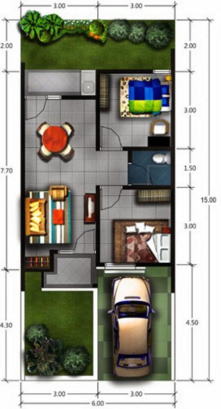 33 Denah Rumah Sederhana 2 Kamar Tidur Rumahku Unik Berikut