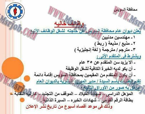 وظائف حكومية بمحافظة السويس لخريجي الجامعات التقديم هنا
