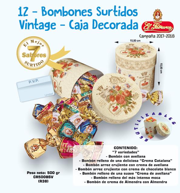 Bombones surtidos El Patriarca - caja vintage 500 g - Comercial H. Martín sa