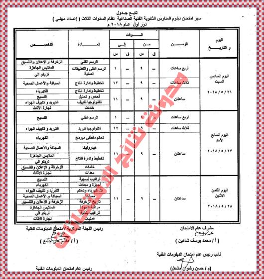 جدول امتحانات شهادة الدبلوم الفنى الصناعى بالصور 2018 جداول الدبلومات الفنية