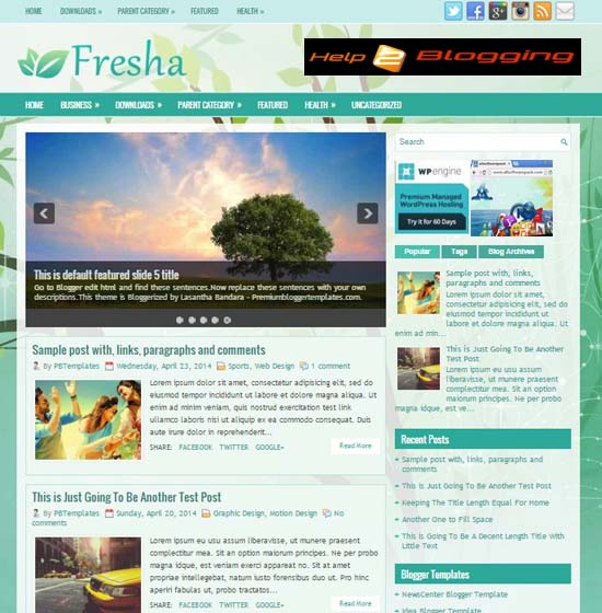 Fresha Latest 2016 Responsive Blogger Template Free Download