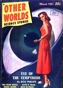 Cover, by H W McCauley, of Other Worlds Science Stories magazine, March 1951 issue