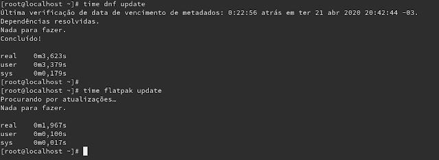 Benchmark de busca por atualização entre DNF e o Flatpak. Claro que nenhum dos dois precisou resolver nada, mas foi para fins de teste (inclusive, até nada a resolver é um teste valido).