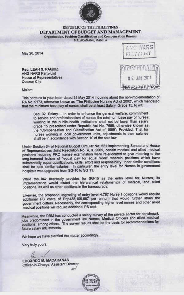DBM letter to Ang NARS
