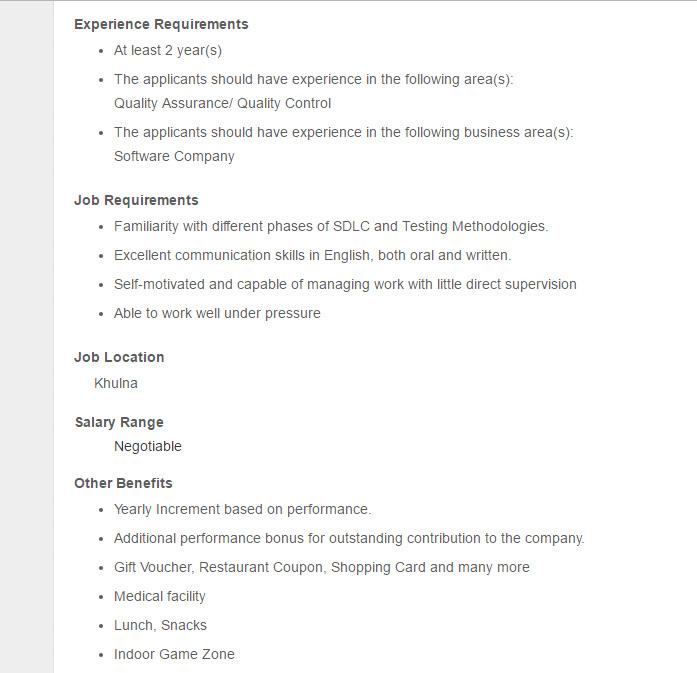 W3Engineers Sr  Quality Assurance Engineer (Khulna) Job