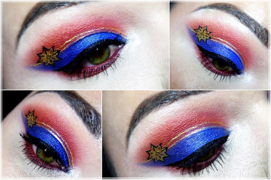 captain marvel eye make up gold blue red