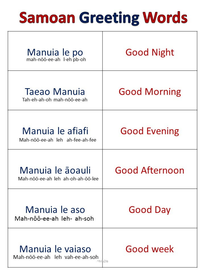 Samoan for kids samoan greeting words other greeting words in samoan m4hsunfo