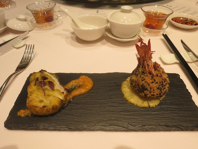 Baked Cod Fish with Pineapple Nonya Sauce and Deep-fried Tiger Prawn with Chef's Special Minced Fish