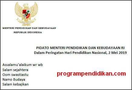 Pidato Sambutan Hardiknas Tahun 2019