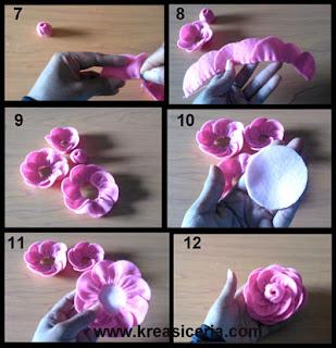 Tutorial aksesoris mawar dari bahan kain flanel part 2