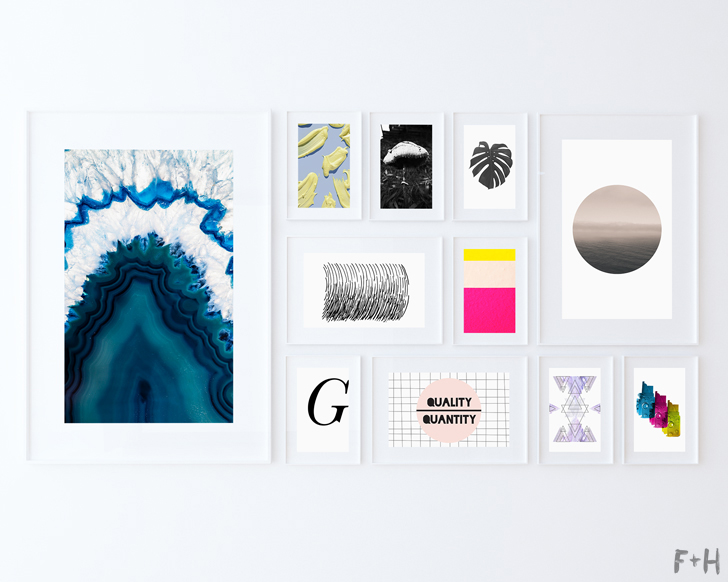 gallery wall of modern art prints