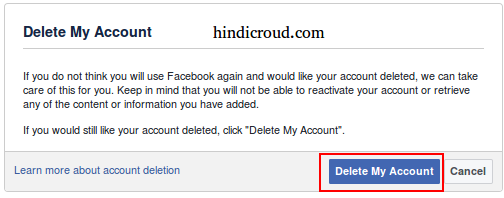 how to delete facebook account info in hindi
