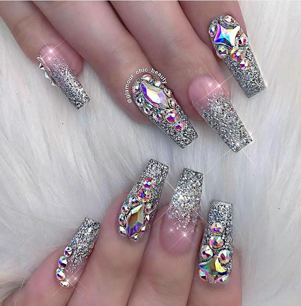 inspirational glitter nail art
