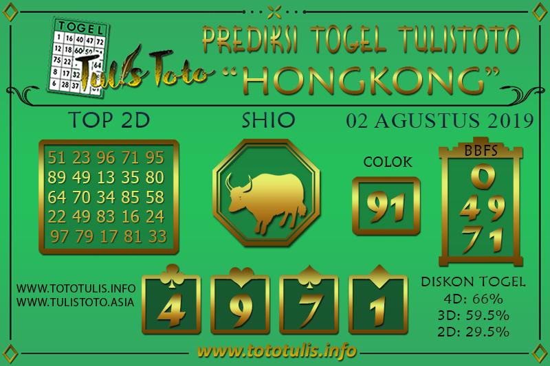 Prediksi Togel HONGKONG TULISTOTO 02 AGUSTUS 2019