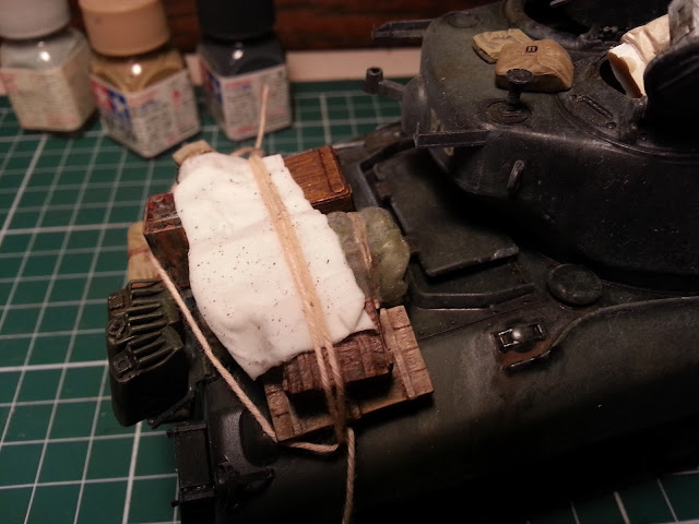Stowage on a 1/35 Sherman scale model tank