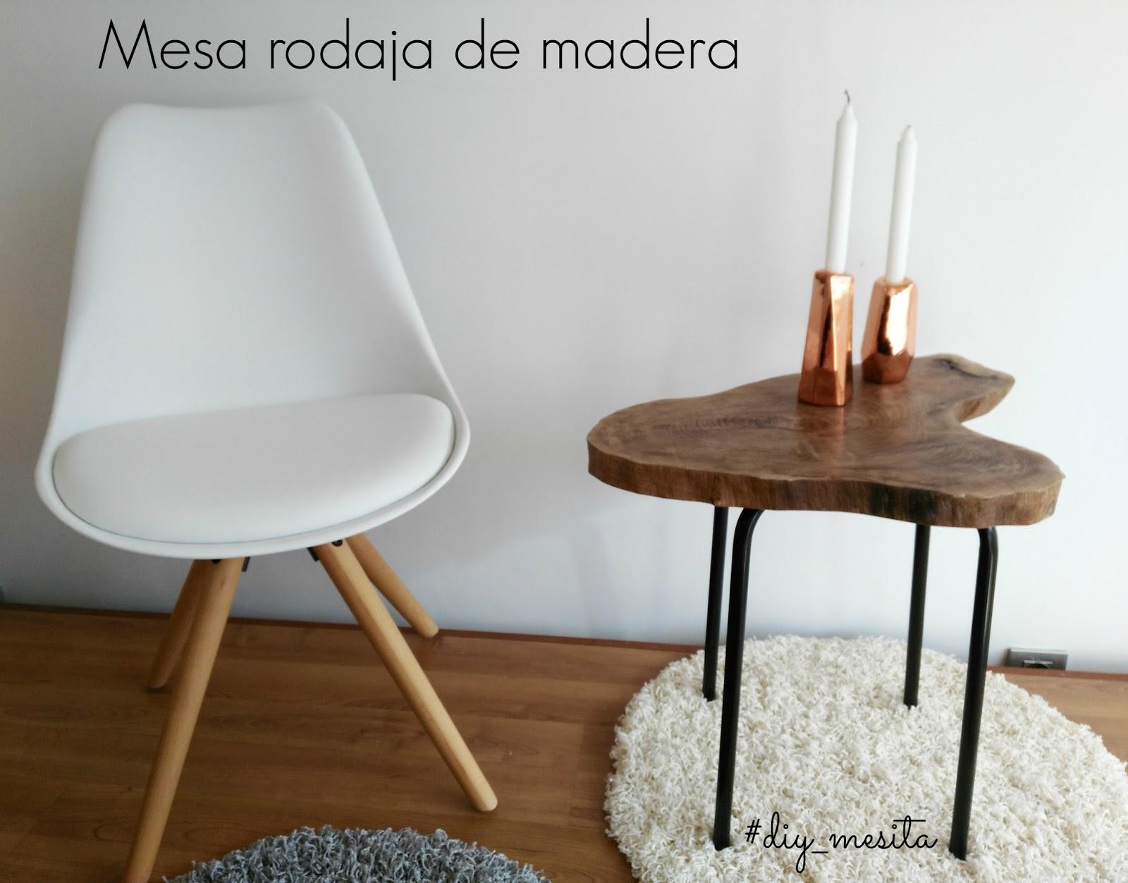 Diy mesa auxiliar con rodaja de madera - Ikea patas muebles ...