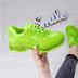 Adidasi fete moderni verde neon cu talpa groasa la moda ieftini