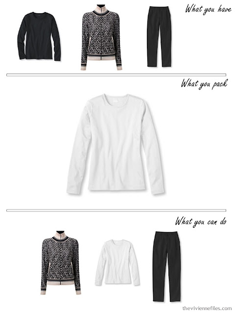 adding a white tee shirt to a beige, black and white travel capsule wardrobe