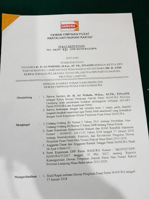 Kisruh DPP Partai Hanura Berimbas Pada Pemecatan Sri Widodo Sebagai Ketua DPD Partai Hanura Lampung