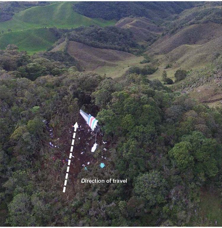 Primeiro ponto de impacto Acidente LAMIA 2933 (Foto © GRIAA):